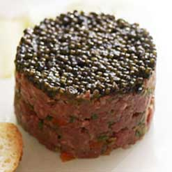 Caviar and Steak Tartare by Petrossian