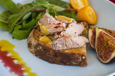 French foie gras open sandwich